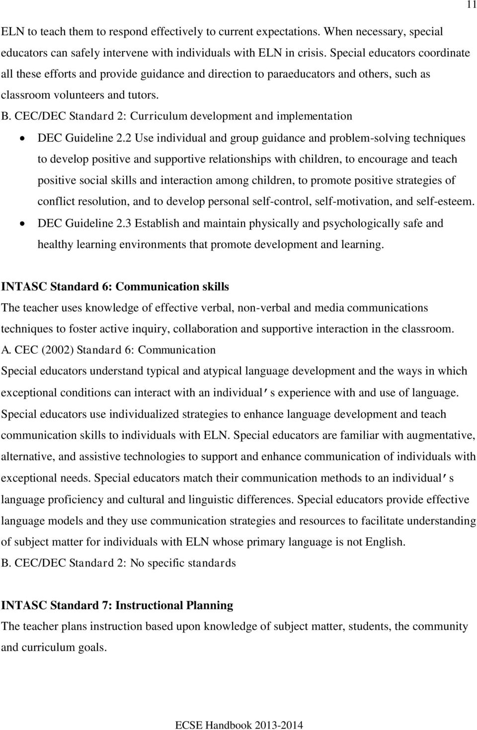 CEC/DEC Standard 2: Curriculum development and implementation DEC Guideline 2.