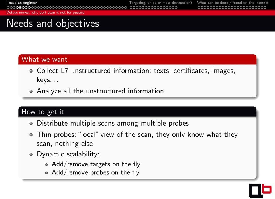 .. Analyze all the unstructured information How to get it Distribute multiple scans among multiple
