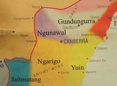 The Maloongoola lived in the Molongolo area, the Biyaligee, in the area of Pialligo, the Namitch or Namwitch lived in the area we know as Namadgi, the Cumbeyan lived in the Queanbeyan area, the