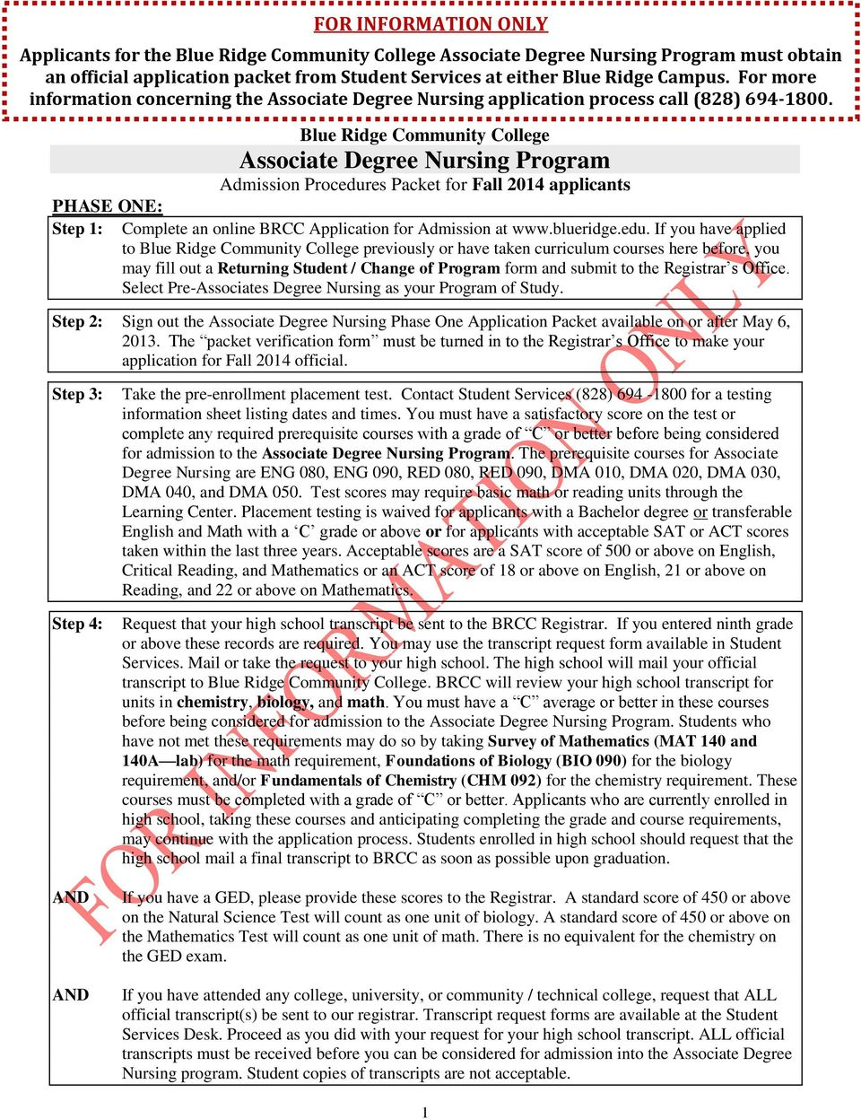 Blue Ridge Community College Associate Degree Nursing Program Admission Procedur