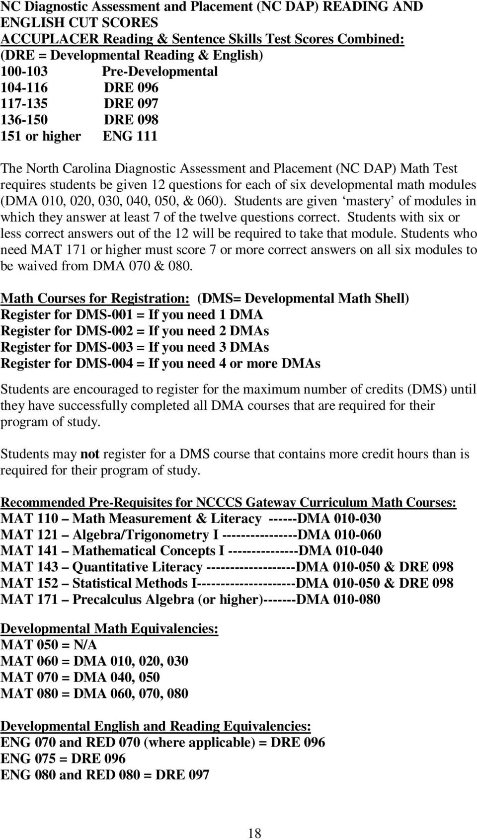 questions for each of six developmental math modules (DMA 010, 020, 030, 040, 050, & 060). Students are given mastery of modules in which they answer at least 7 of the twelve questions correct.