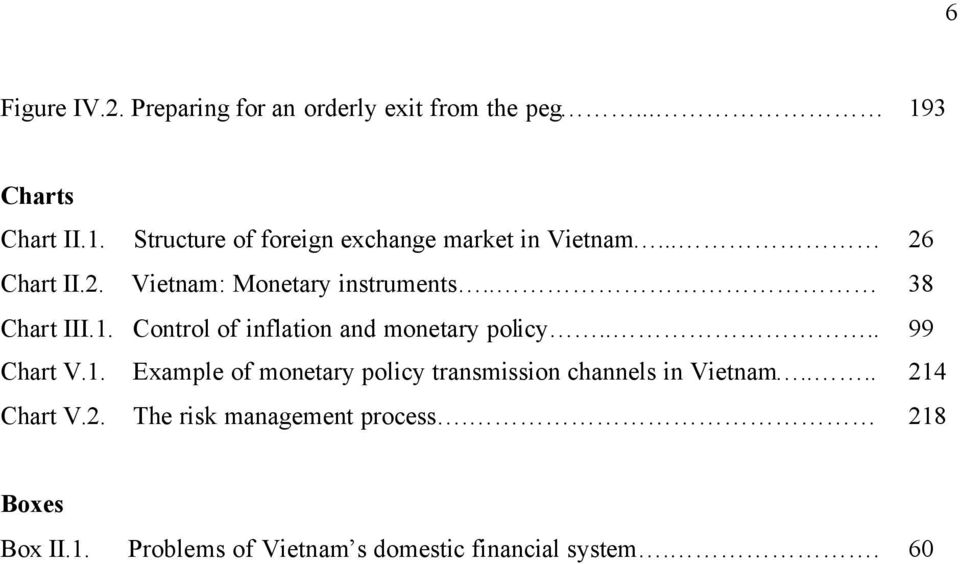 . 38 Chart III.1. Control of inflation and monetary policy.... 99 Chart V.1. Example of monetary policy transmission channels in Vietnam.
