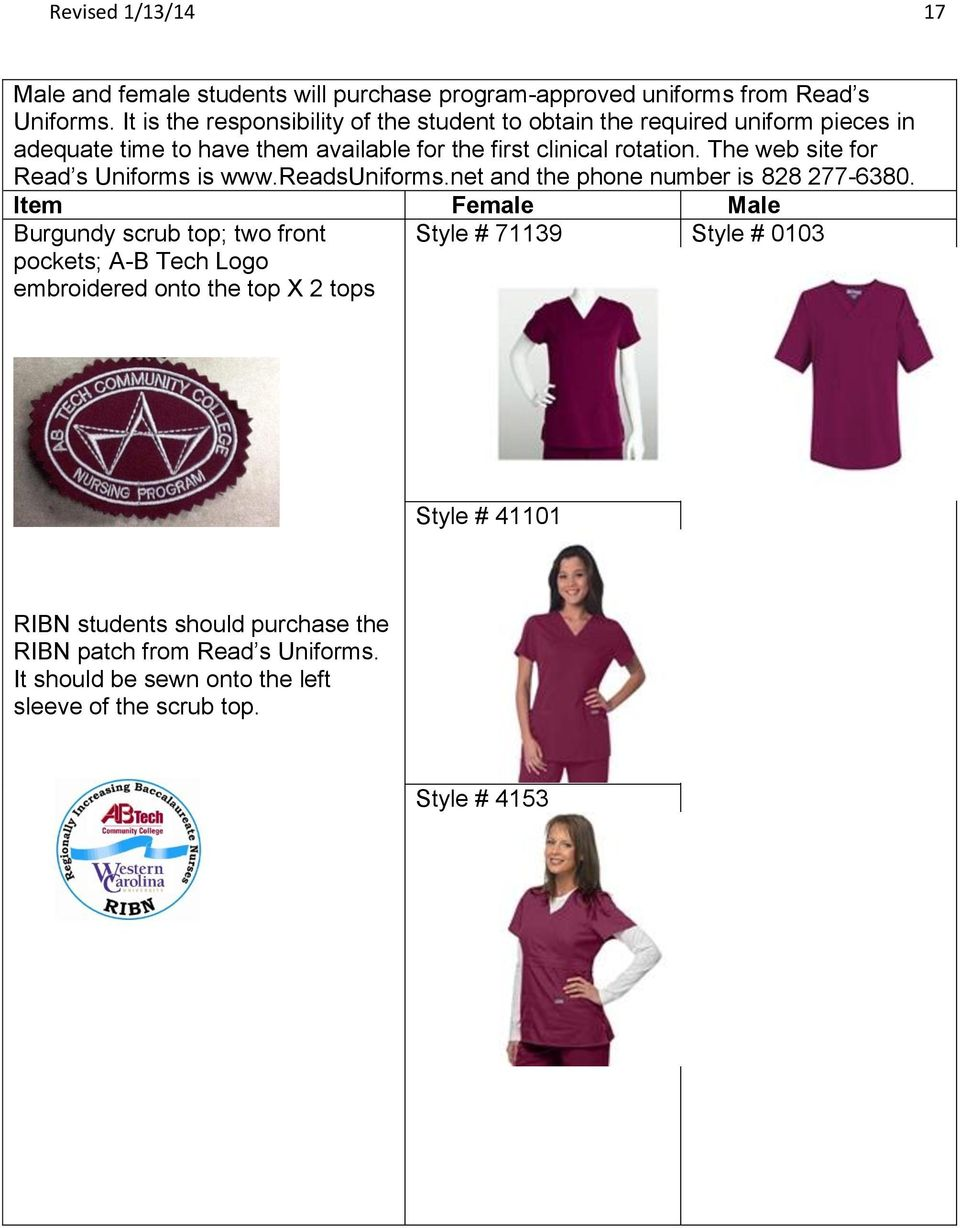 The web site for Read s Uniforms is www.readsuniforms.net and the phone number is 828 277-6380.
