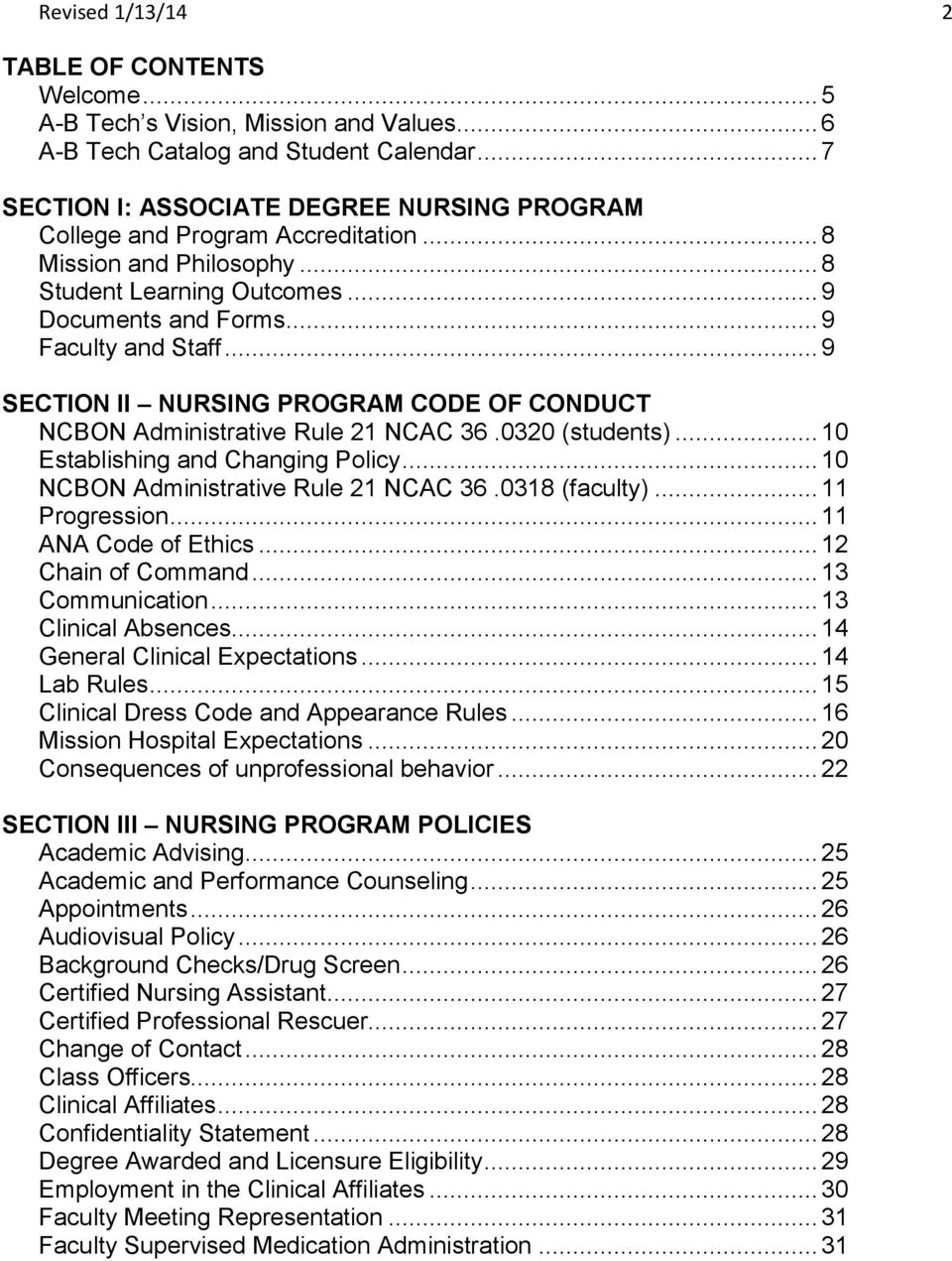 .. 9 SECTION II NURSING PROGRAM CODE OF CONDUCT NCBON Administrative Rule 21 NCAC 36.0320 (students)... 10 Establishing and Changing Policy... 10 NCBON Administrative Rule 21 NCAC 36.0318 (faculty).