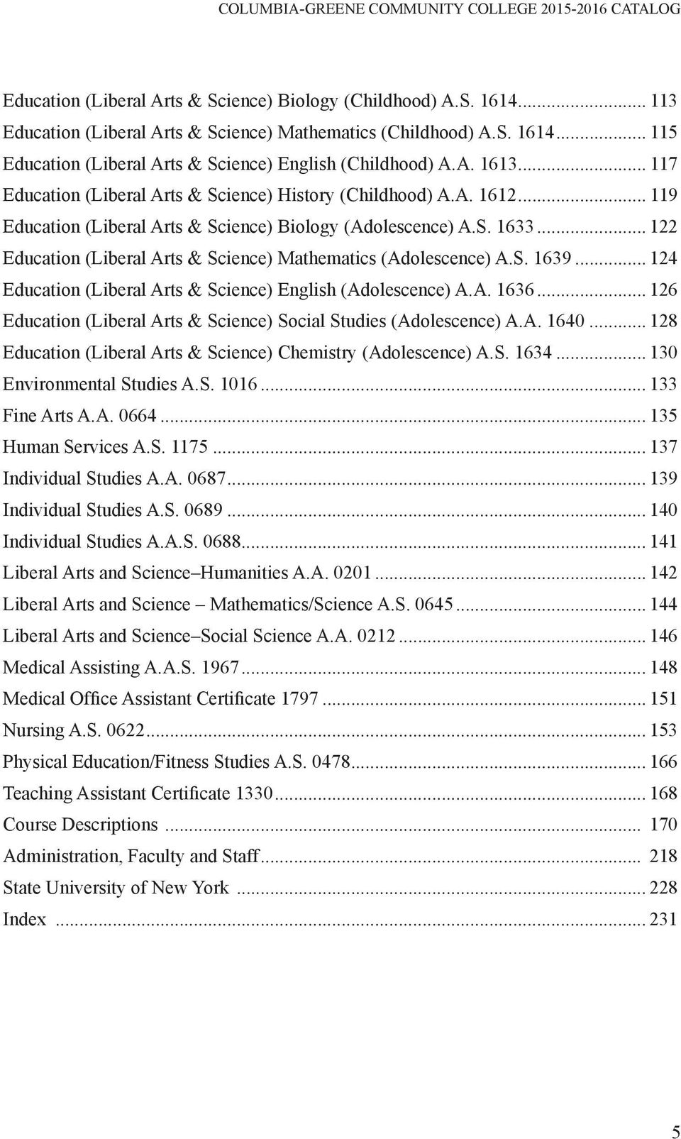 .. 122 Education (Liberal Arts & Science) Mathematics (Adolescence) A.S. 1639... 124 Education (Liberal Arts & Science) English (Adolescence) A.A. 1636.