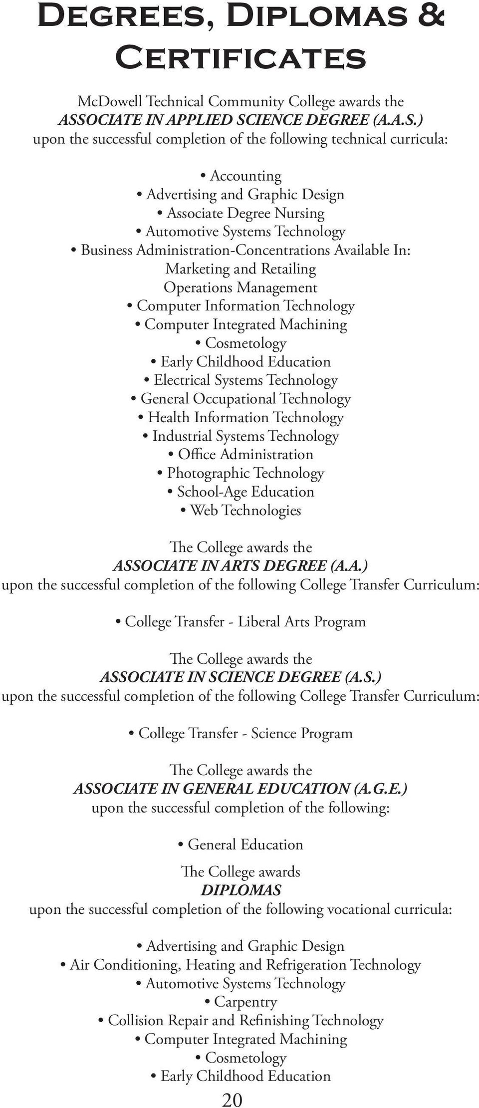 IENCE DEGREE (A.A.S.