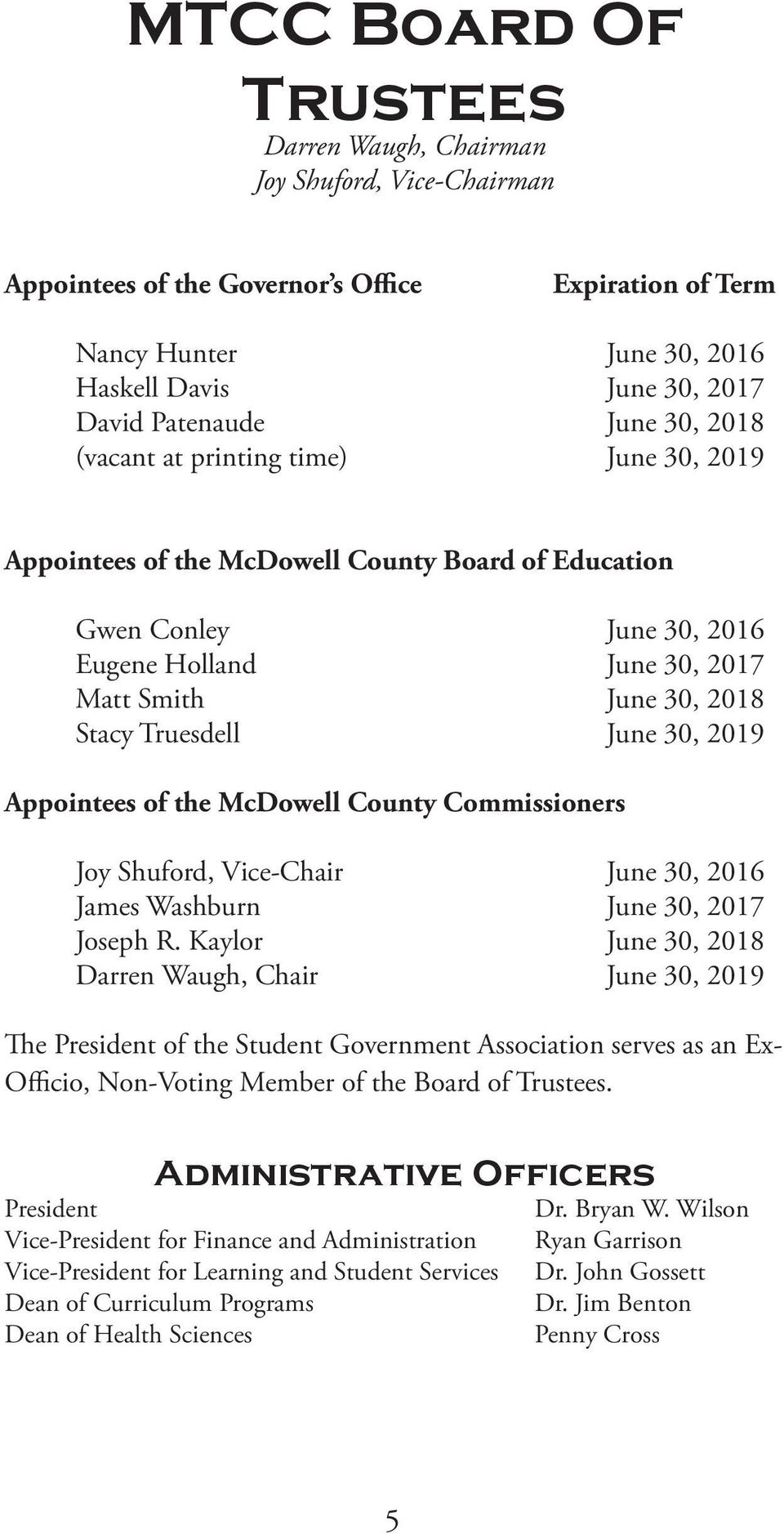 Truesdell June 30, 2019 Appointees of the McDowell County Commissioners Joy Shuford, Vice-Chair June 30, 2016 James Washburn June 30, 2017 Joseph R.