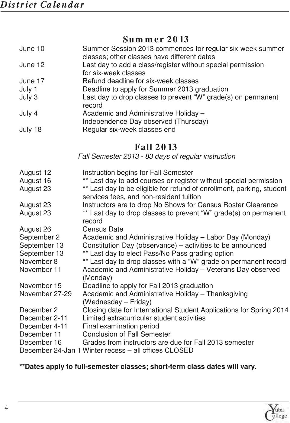 record July 4 Academic and Administrative Holiday Independence Day observed (Thursday) July 18 Regular six-week classes end Fall 2013 Fall Semester 2013-83 days of regular instruction August 12