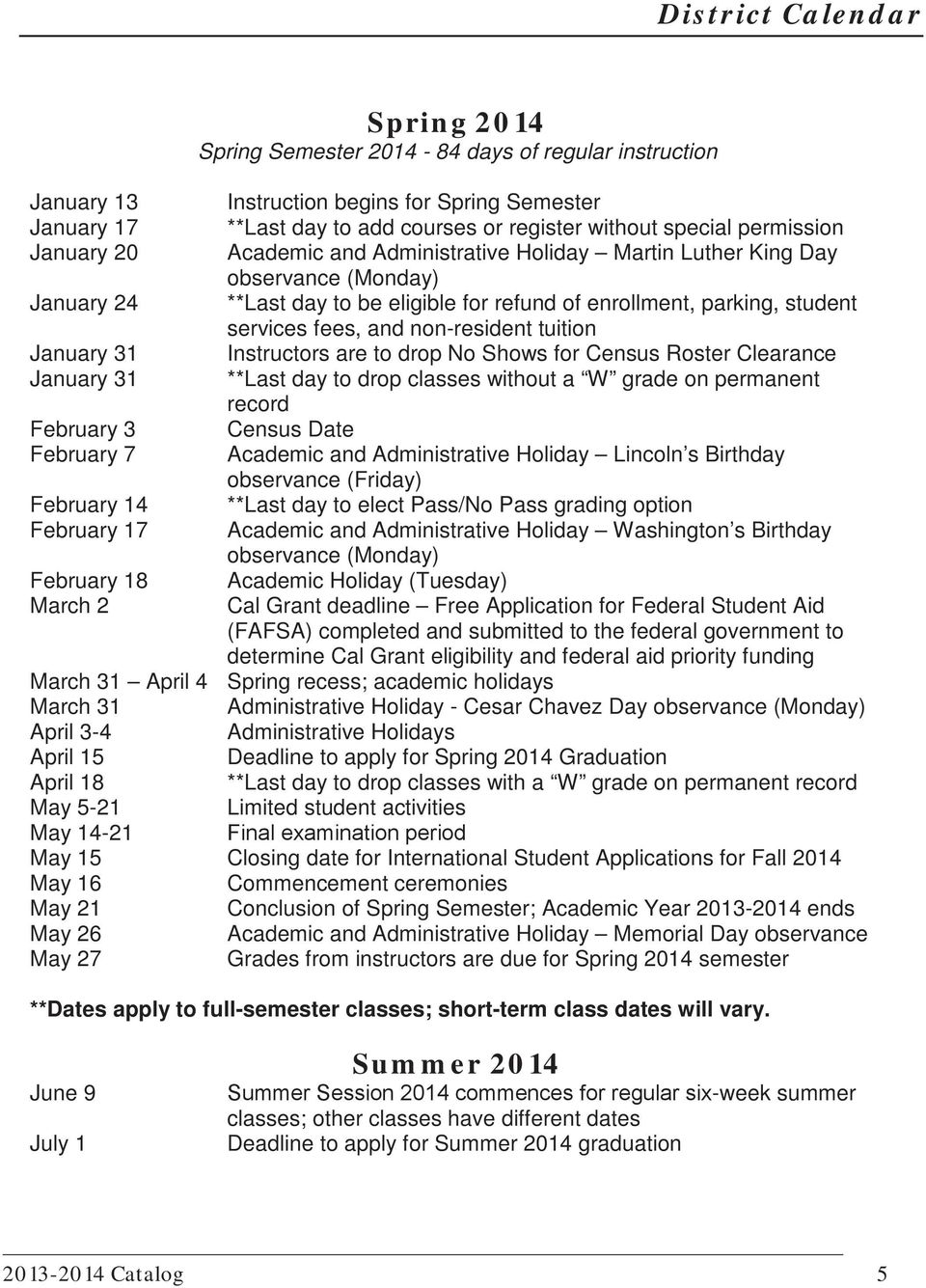 non-resident tuition January 31 Instructors are to drop No Shows for Census Roster Clearance January 31 **Last day to drop classes without a W grade on permanent record February 3 Census Date