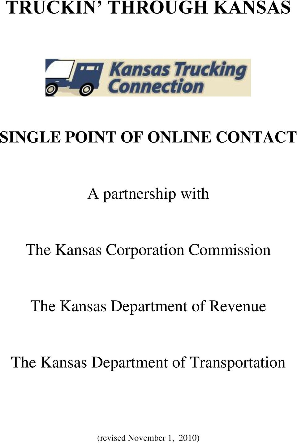 Commission The Kansas Department of Revenue The