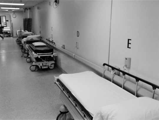 Larger Emergency Departments tend to be partially or sometimes mostly occupied with admitted patients who should have been moved to another hospital bed long ago.