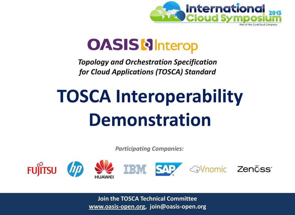 Demonstration Participating Companies: Join the TOSCA