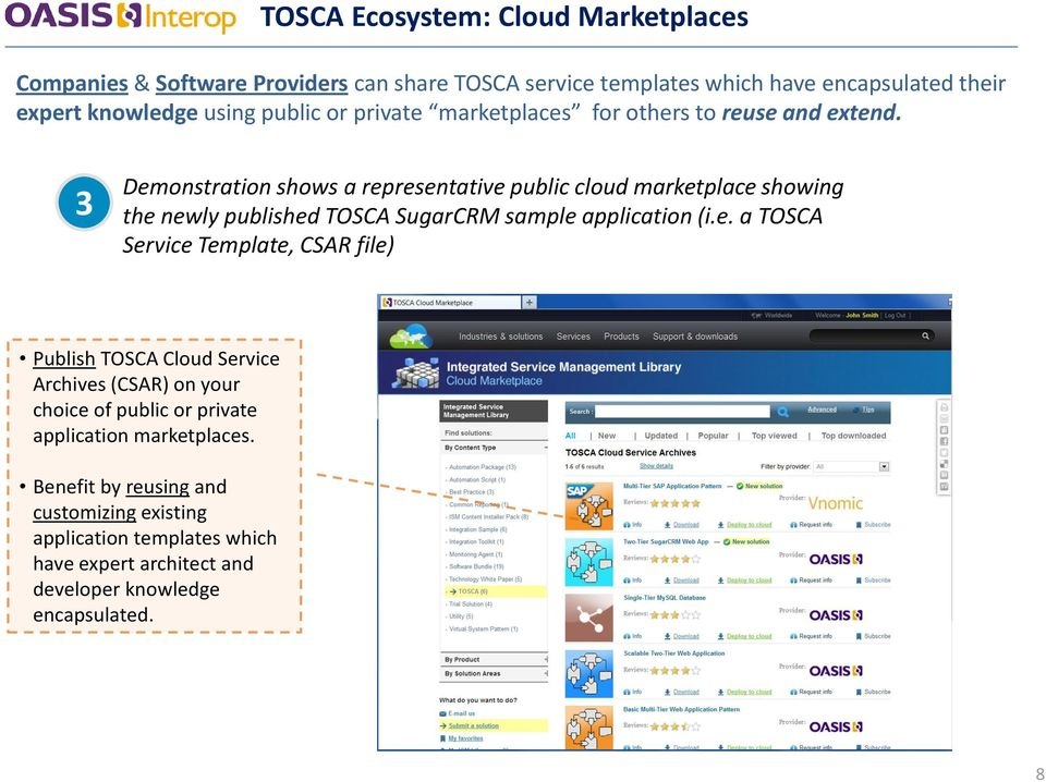3 Demonstration shows a representative public cloud marketplace showing the newly published TOSCA SugarCRM sample application (i.e. a TOSCA Service Template, CSAR file) Publish TOSCA Cloud Service Archives (CSAR) on your choice of public or private application marketplaces.