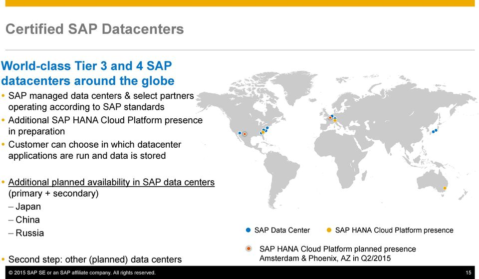Additional planned availability in SAP data centers (primary + secondary) Japan China Russia SAP Data Center SAP HANA Cloud Platform presence Second step: