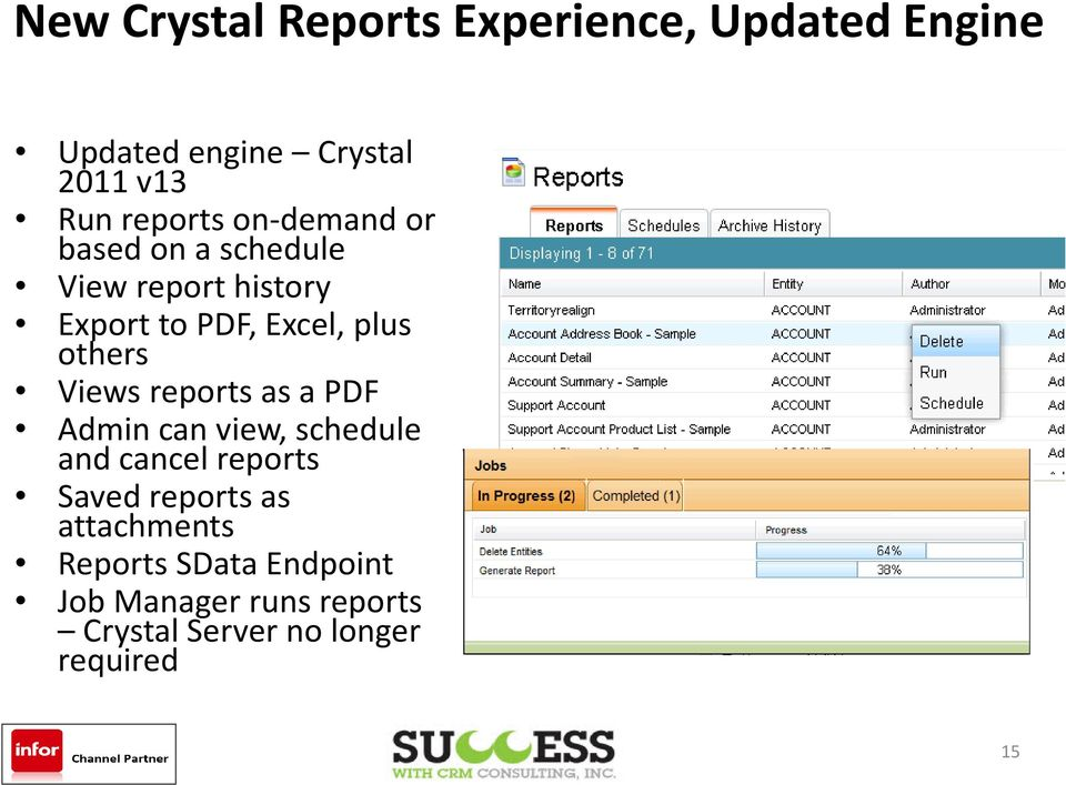 others Views reports as a PDF Admin can view, schedule and cancel reports Saved reports