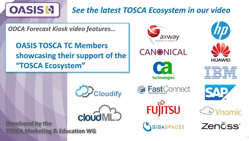 Ecosystem See the latest TOSCA Ecosystem in our