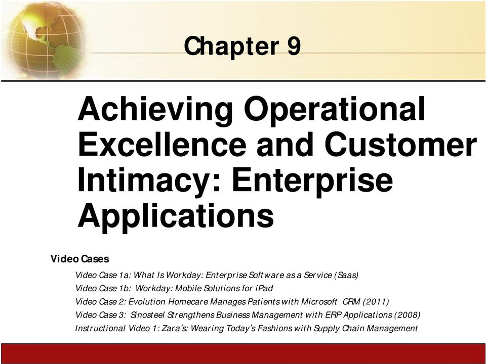 Patients with Microsoft CRM (2011) Video Case 3: Sinosteel Strengthens Business Management with ERP Applications (2008) Instructional