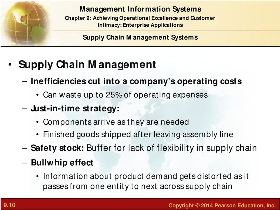 leaving assembly line Safety stock: Buffer for lack of flexibility in supply chain Bullwhip effect Information about