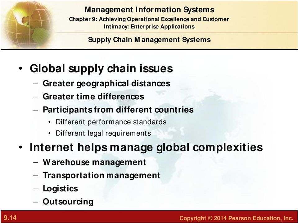 standards Different legal requirements Internet helps manage global complexities Warehouse