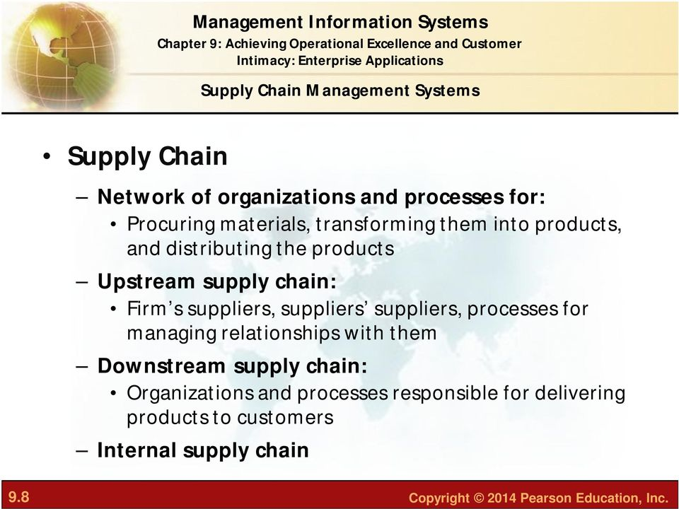 suppliers suppliers, processes for managing relationships with them Downstream supply chain: Organizations and