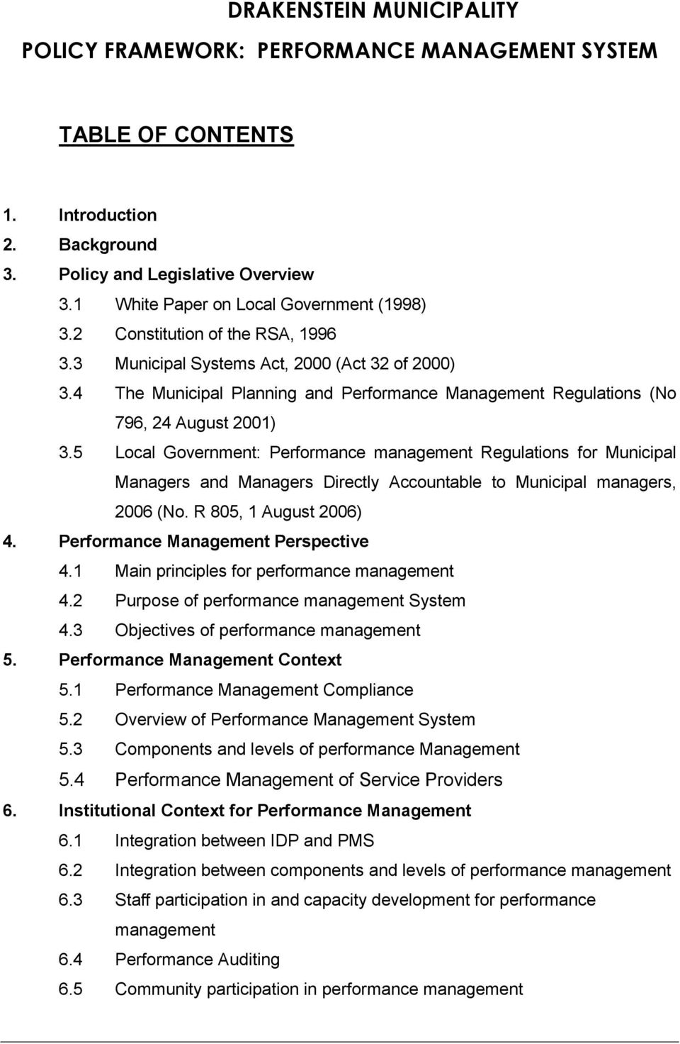 4 The Municipal Planning and Performance Management Regulations (No 796, 24 August 2001) 3.