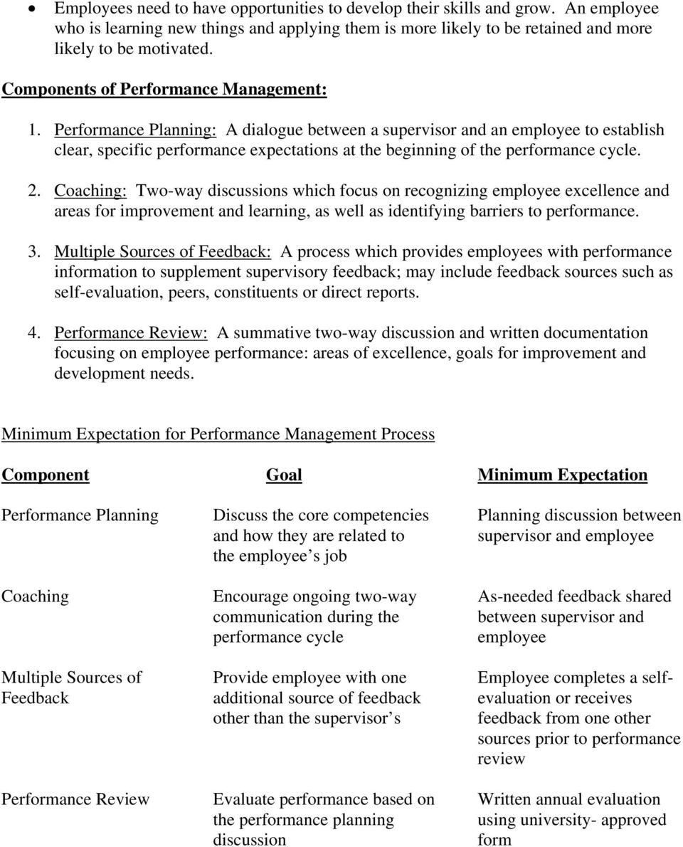 Performance Planning: A dialogue between a supervisor and an employee to establish clear, specific performance expectations at the beginning of the performance cycle. 2.