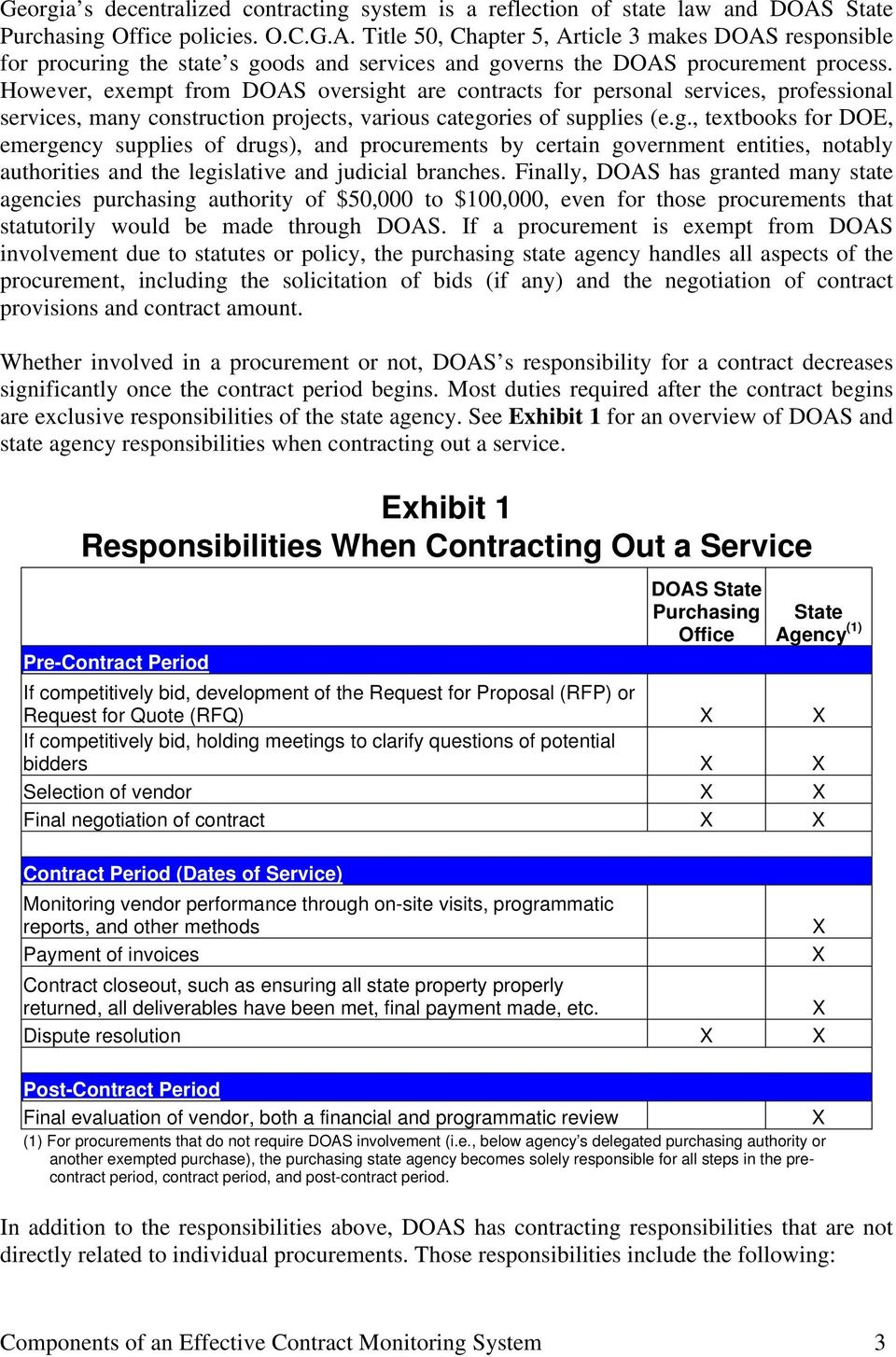 However, exempt from DOAS oversight are contracts for personal services, professional services, many construction projects, various categories of supplies (e.g., textbooks for DOE, emergency supplies of drugs), and procurements by certain government entities, notably authorities and the legislative and judicial branches.