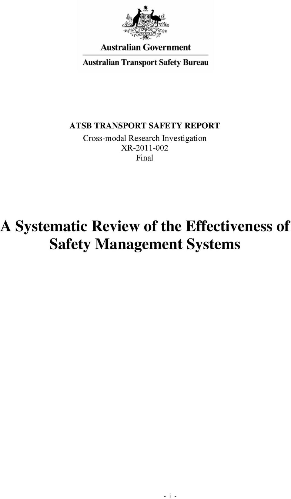 XR-2011-002 Final A Systematic Review