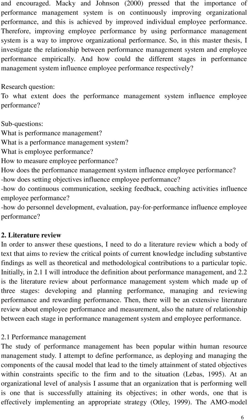 Impact training employee performance research proposal