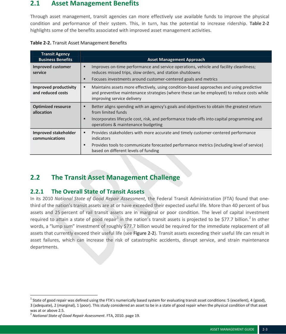 highlights some of the benefits associated with improved asset management activities. Table 2-2.