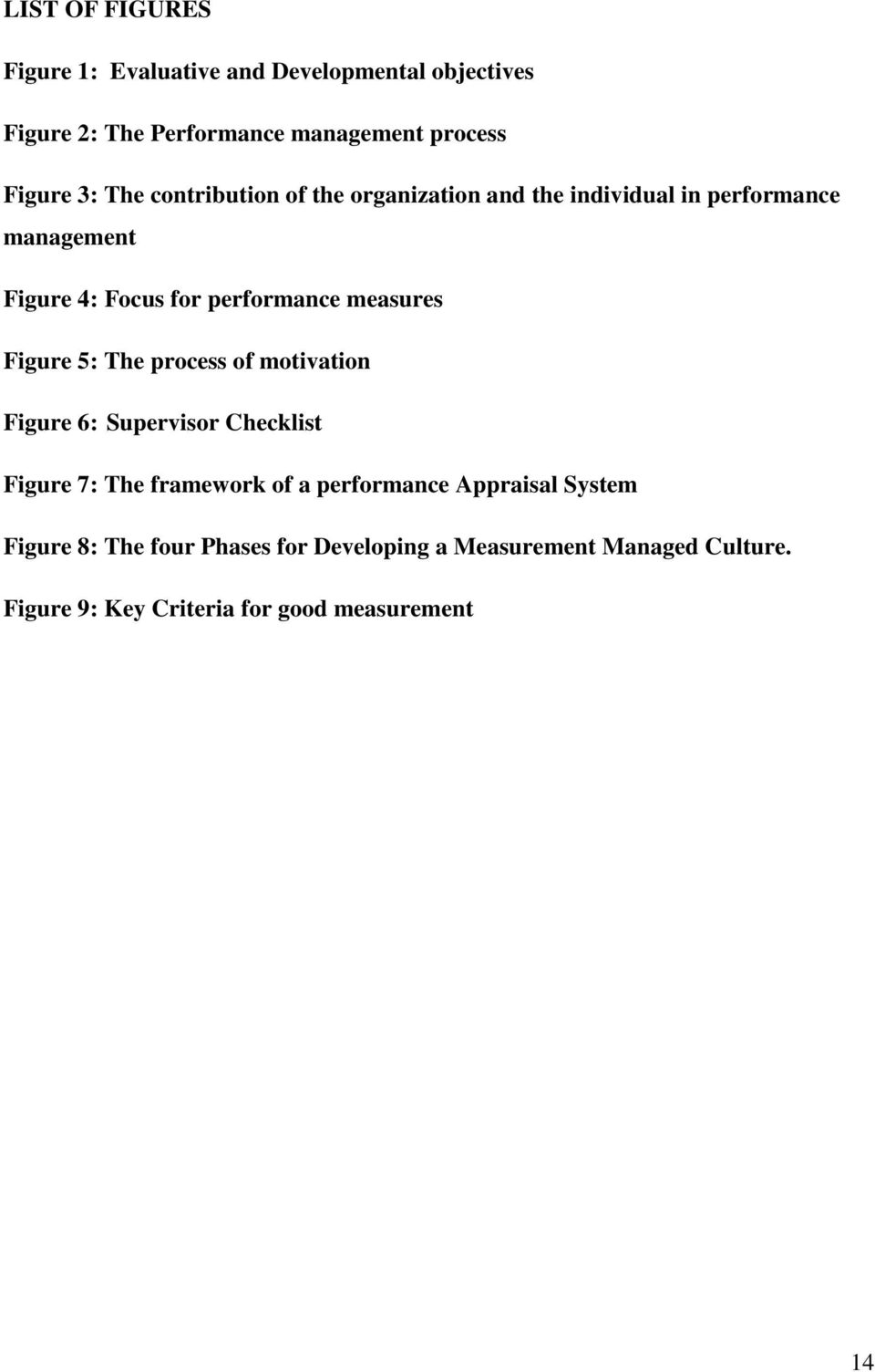 measures Figure 5: The process of motivation Figure 6: Supervisor Checklist Figure 7: The framework of a performance