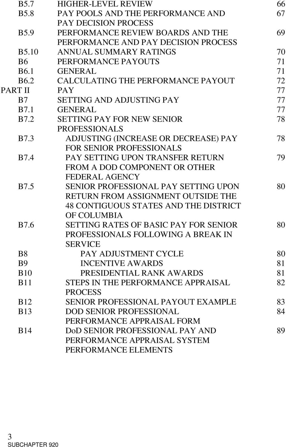 2 SETTING PAY FOR NEW SENIOR 78 PROFESSIONALS B7.3 ADJUSTING (INCREASE OR DECREASE) PAY 78 FOR SENIOR PROFESSIONALS B7.