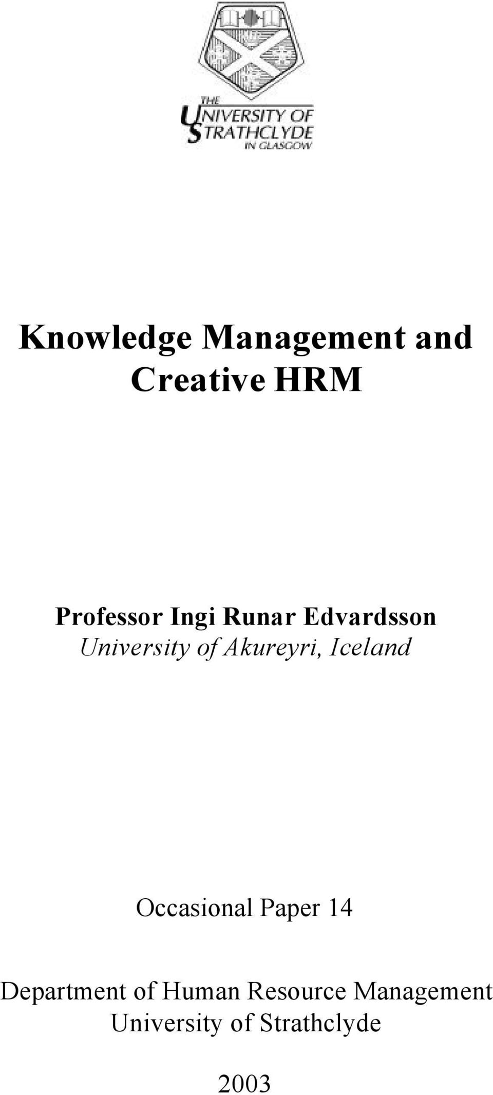 Iceland Occasional Paper 14 Department of Human