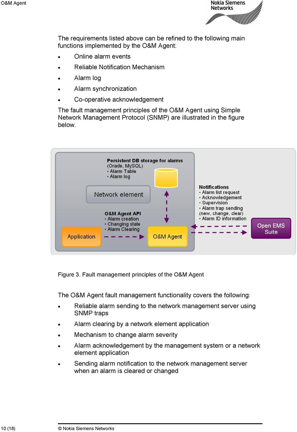 Fault management principles of the O&M Agent The O&M Agent fault management functionality covers the following: Reliable alarm sending to the network management server using SNMP traps Alarm clearing