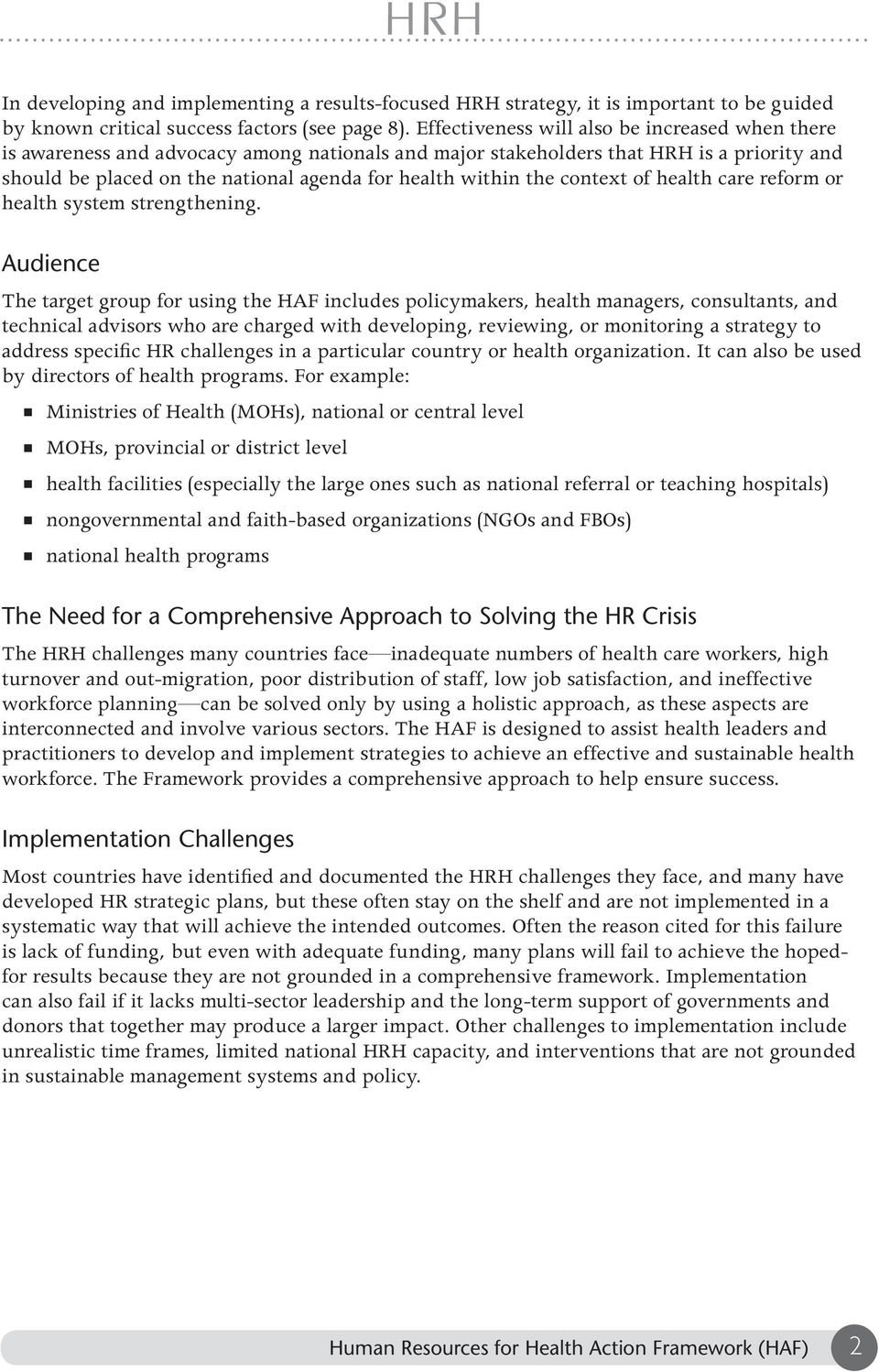 the context of health care reform or health system strengthening.