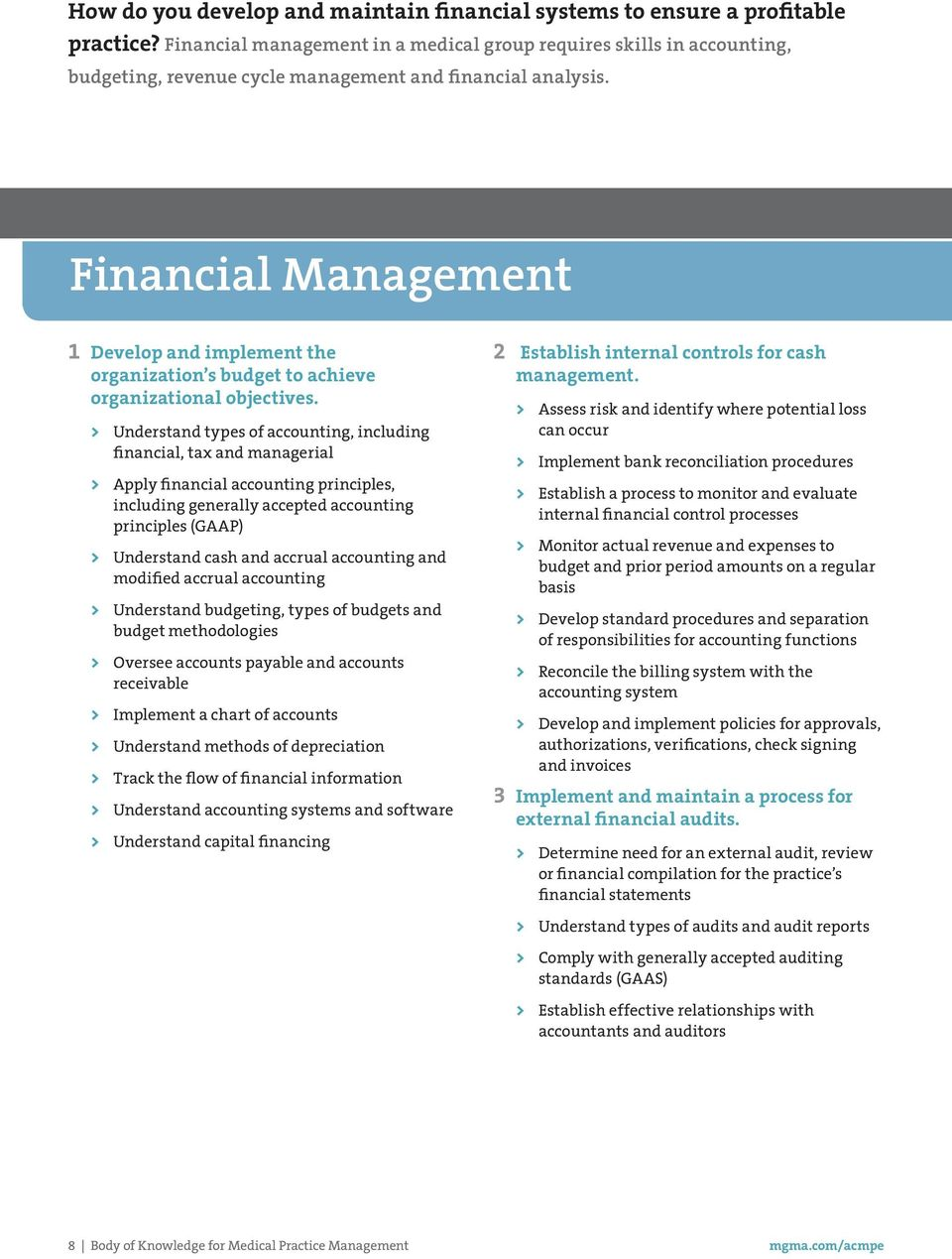 DOMAIN: Financial Management 1 Develop and implement the organization s budget to achieve organizational objectives.