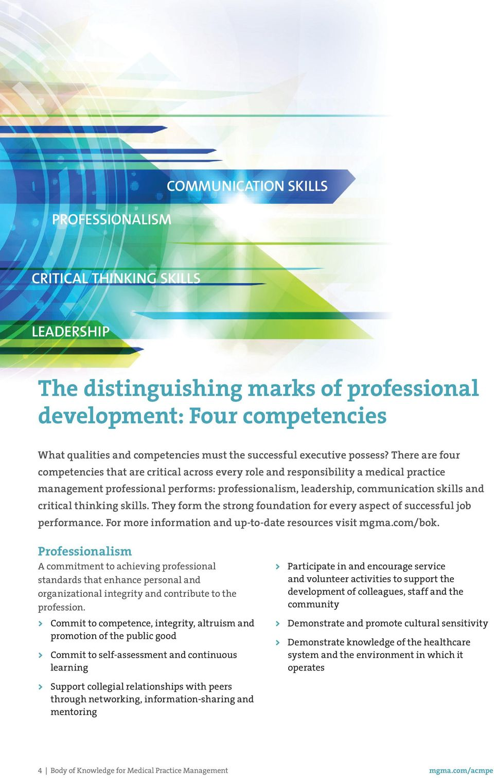 There are four competencies that are critical across every role and responsibility a medical practice management professional performs: professionalism, leadership, communication skills and critical
