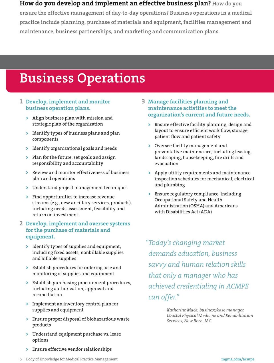 Business Operations 1 Develop, implement and monitor business operation plans.