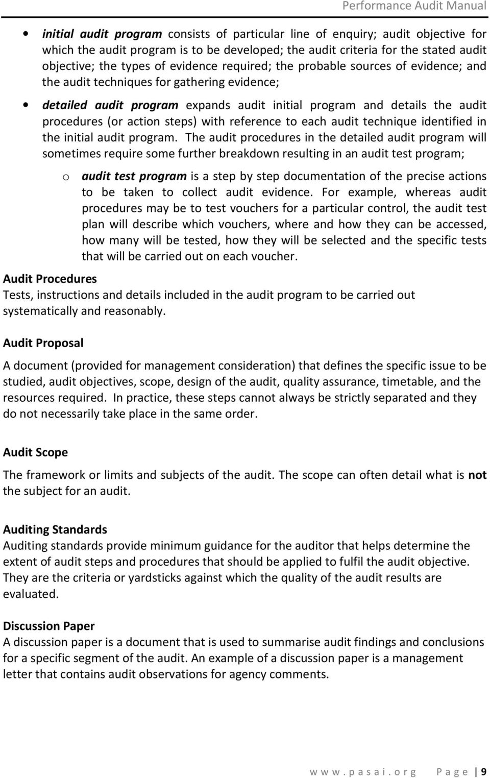 with reference to each audit technique identified in the initial audit program.