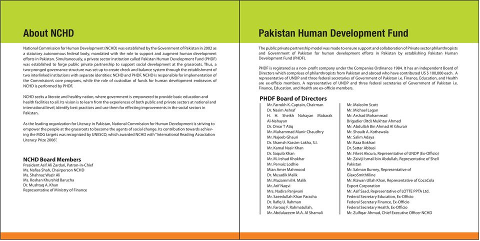 Simultaneously, a private sector institution called Pakistan Human Development Fund (PHDF) was established to forge public private partnership to support social development at the grassroots.