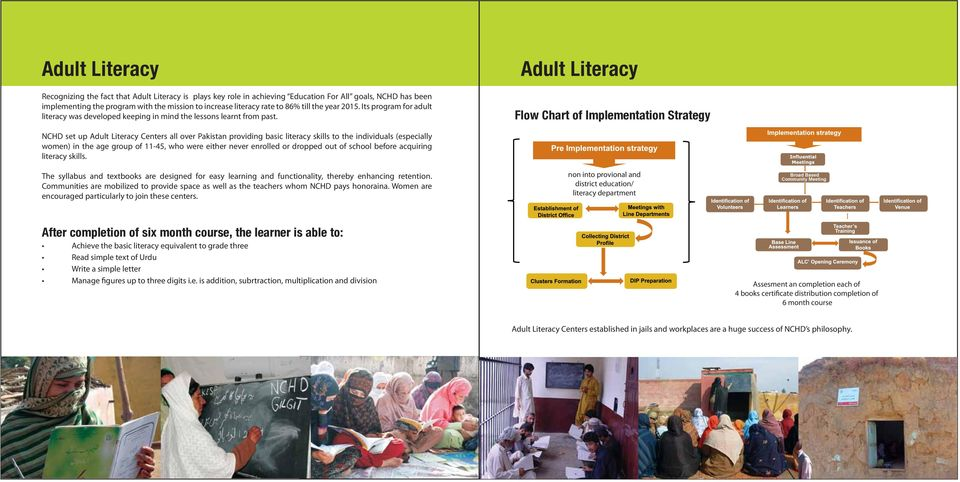 Adult Literacy Flow Chart of Implementation Strategy NCHD set up Adult Literacy Centers all over Pakistan providing basic literacy skills to the individuals (especially women) in the age group of
