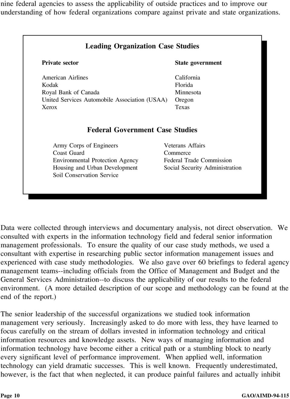 Texas Federal Government Case Studies Army Corps of Engineers Coast Guard Environmental Protection Agency Housing and Urban Development Soil Conservation Service Veterans Affairs Commerce Federal