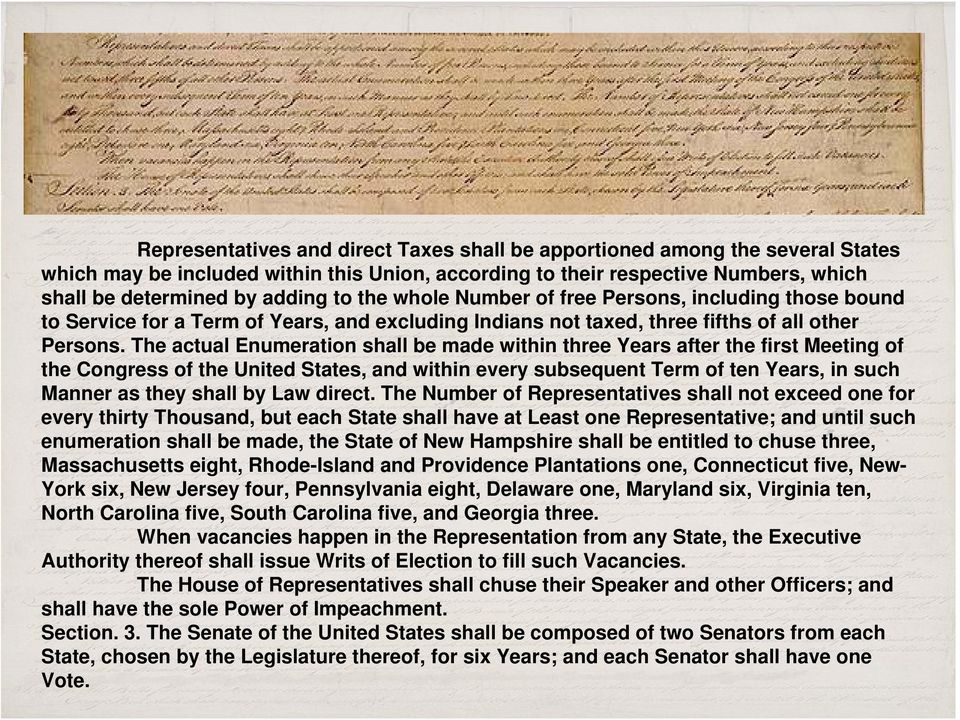 The actual Enumeration shall be made within three Years after the first Meeting of the Congress of the United States, and within every subsequent Term of ten Years, in such Manner as they shall by