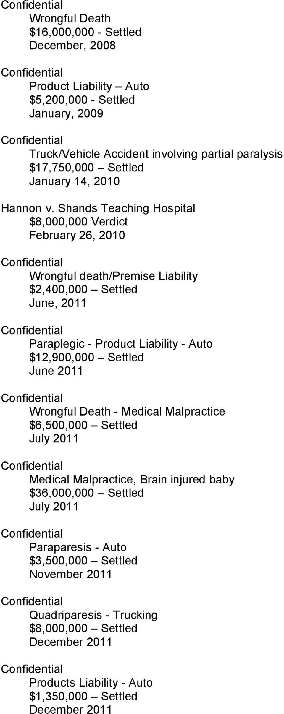 Shands Teaching Hospital $8,000,000 Verdict February 26, 2010 Wrongful death/premise Liability $2,400,000 Settled June, 2011 Paraplegic - Product Liability - Auto $12,900,000