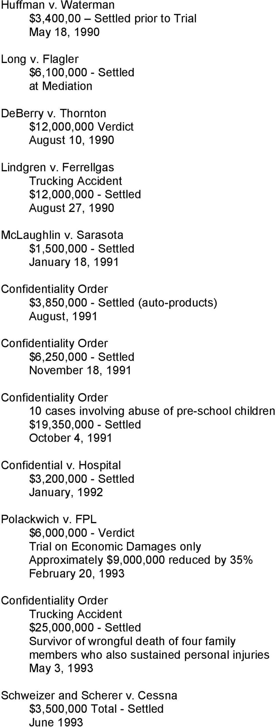 Sarasota $1,500,000 - Settled January 18, 1991 ity Order $3,850,000 - Settled (auto-products) August, 1991 ity Order $6,250,000 - Settled November 18, 1991 ity Order 10 cases involving abuse of