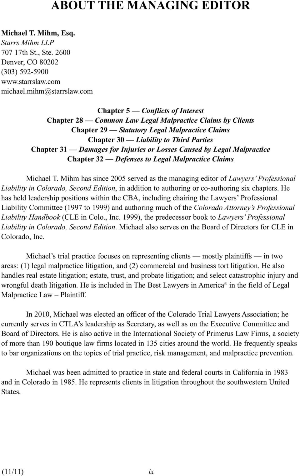 for Injuries or Losses Caused by Legal Malpractice Chapter 32 Defenses to Legal Malpractice Claims Michael T.