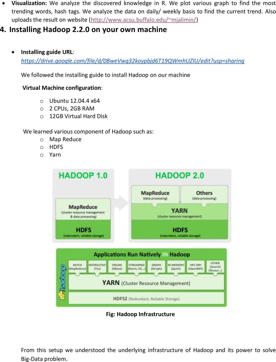 com/file/d/0bwevwq32koypbjd6t19qwmhuzlu/edit?usp=sharing We followed the installing guide to install Hadoop on our machine Virtual Machine configuration: o Ubuntu 12.04.