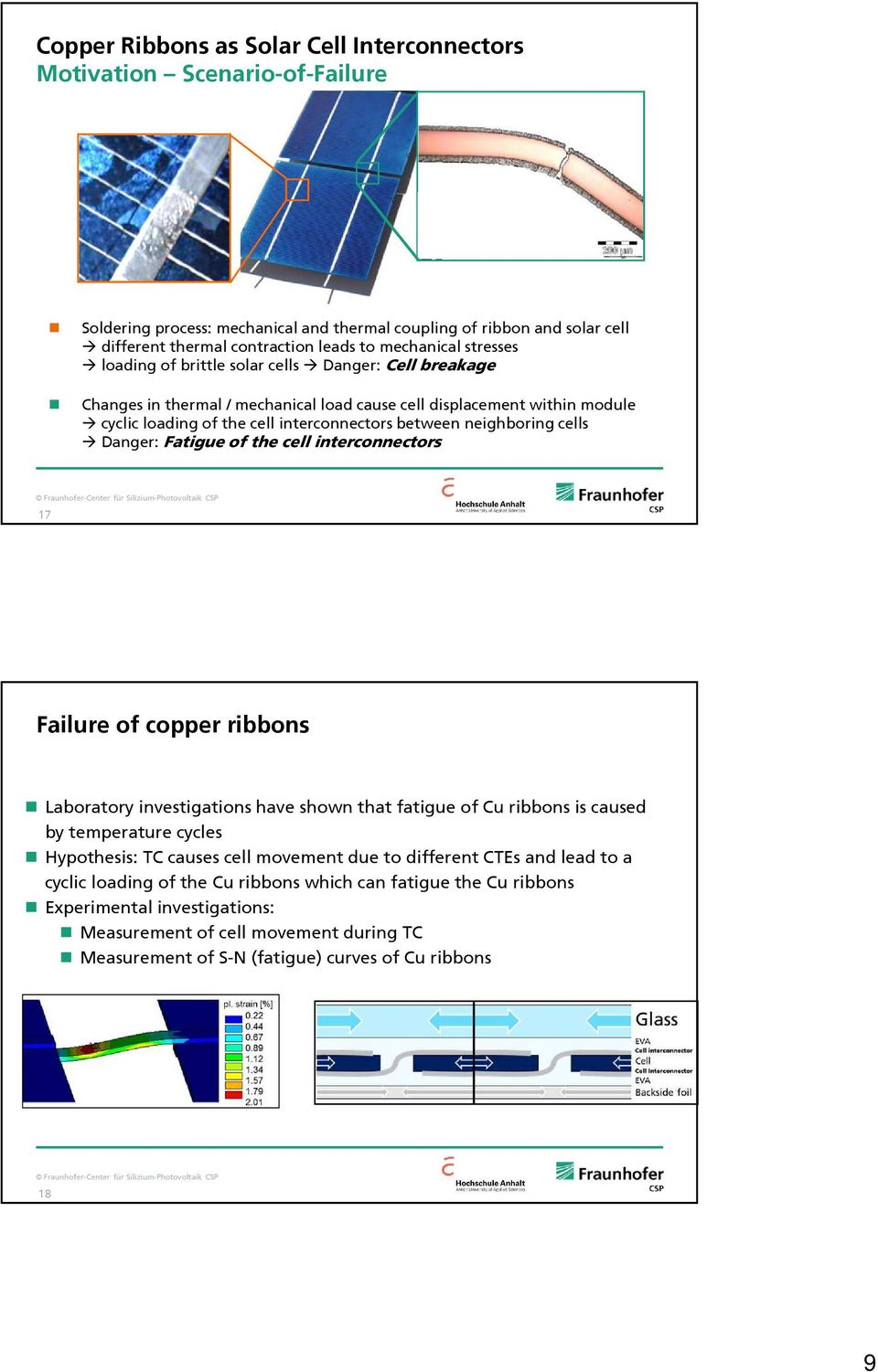 neighboring cells Danger: Fatigue of the cell interconnectors 17 Failure of copper ribbons Laboratory investigations have shown that fatigue of Cu ribbons is caused by temperature cycles Hypothesis: