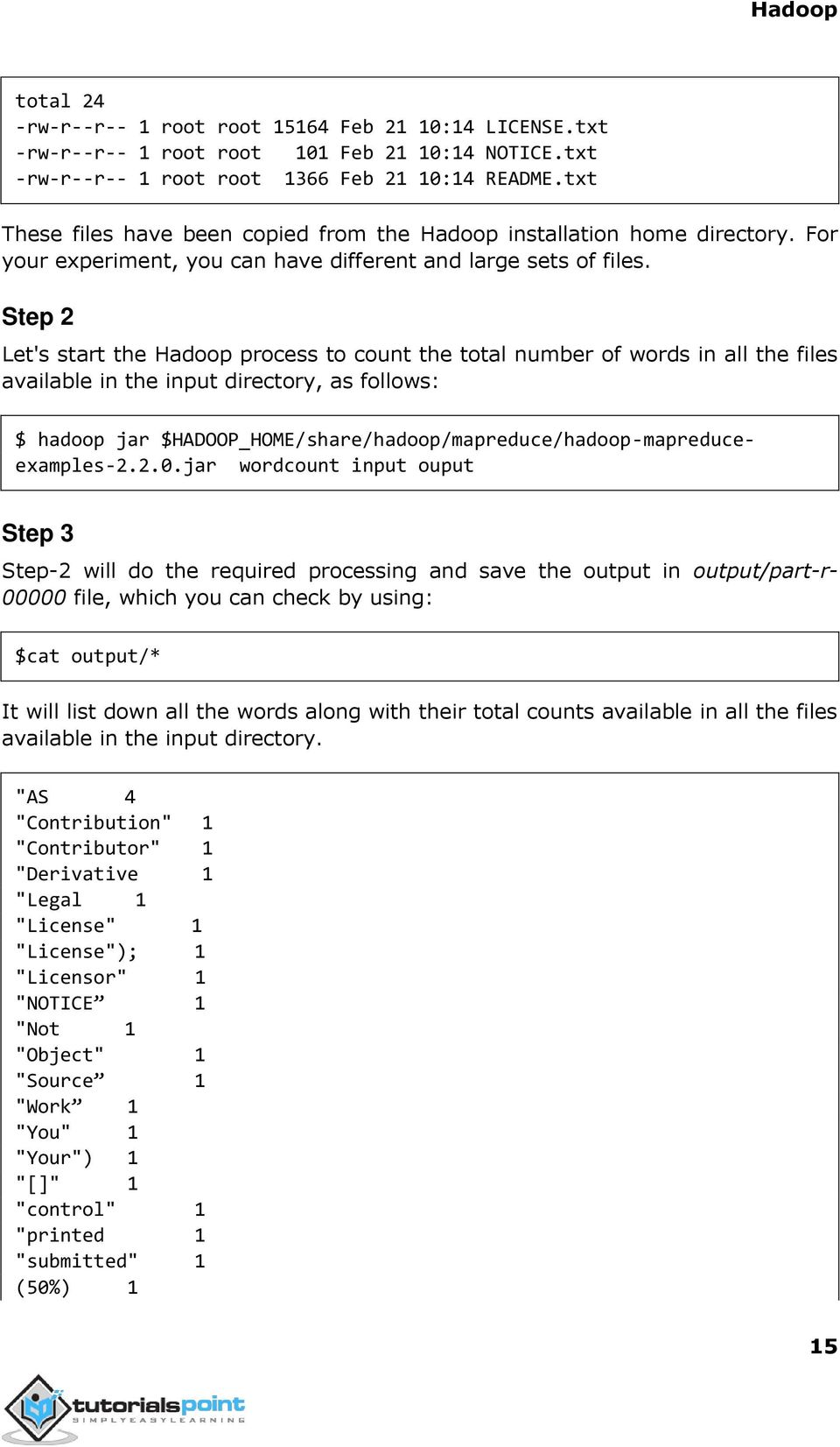 Step 2 Let's start the Hadoop process to count the total number of words in all the files available in the input directory, as follows: $ hadoop jar