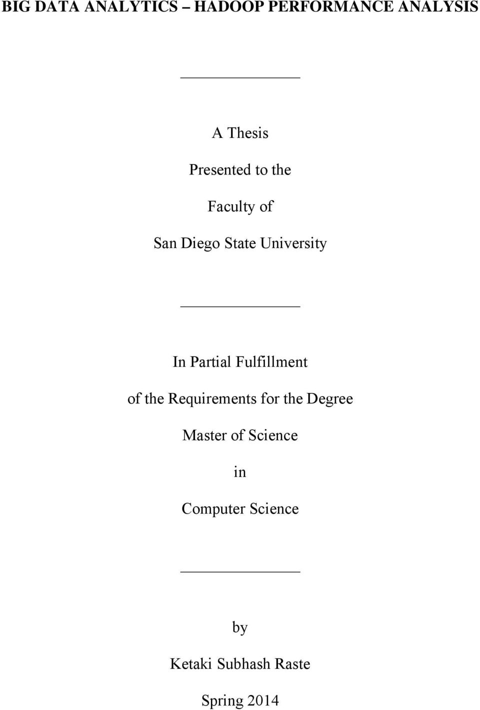 A Dissertation Submitted In Partial Fulfilment Of The Requirements